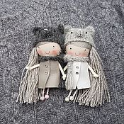 Украшения handmade. Livemaster - original item Doll brooch. A girl in a gray mouse hat and a leather coat.. Handmade.