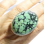 """""""Зеленая бирюза"""" кольцо с натуральной бирюзой"""