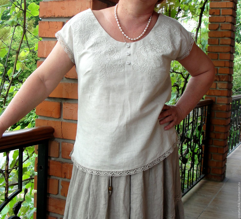Белые блузки с вышивкой купить