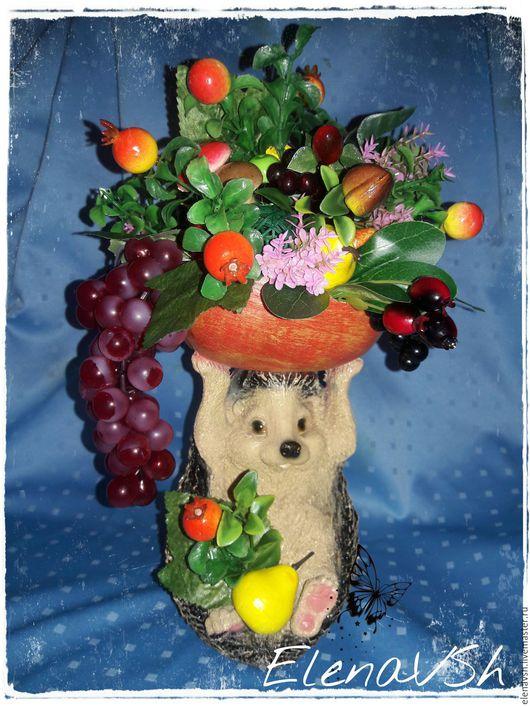 Топиарии ручной работы. Ярмарка Мастеров - ручная работа. Купить Топиарий Ежик виноградный.. Handmade. Цветочная композиция, топиарий, груши
