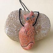 Украшения ручной работы. Ярмарка Мастеров - ручная работа Рыжая кошка. Фарфоровый кулон. Handmade.