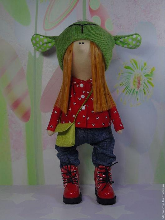 Коллекционные куклы ручной работы. Ярмарка Мастеров - ручная работа. Купить Интерьерная кукла хулиганка Мишелька. Handmade. Ярко-красный
