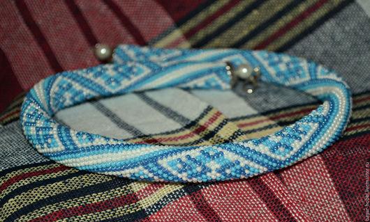 Жгут  из бисера `Небесная вышивка`, украшение на шею
