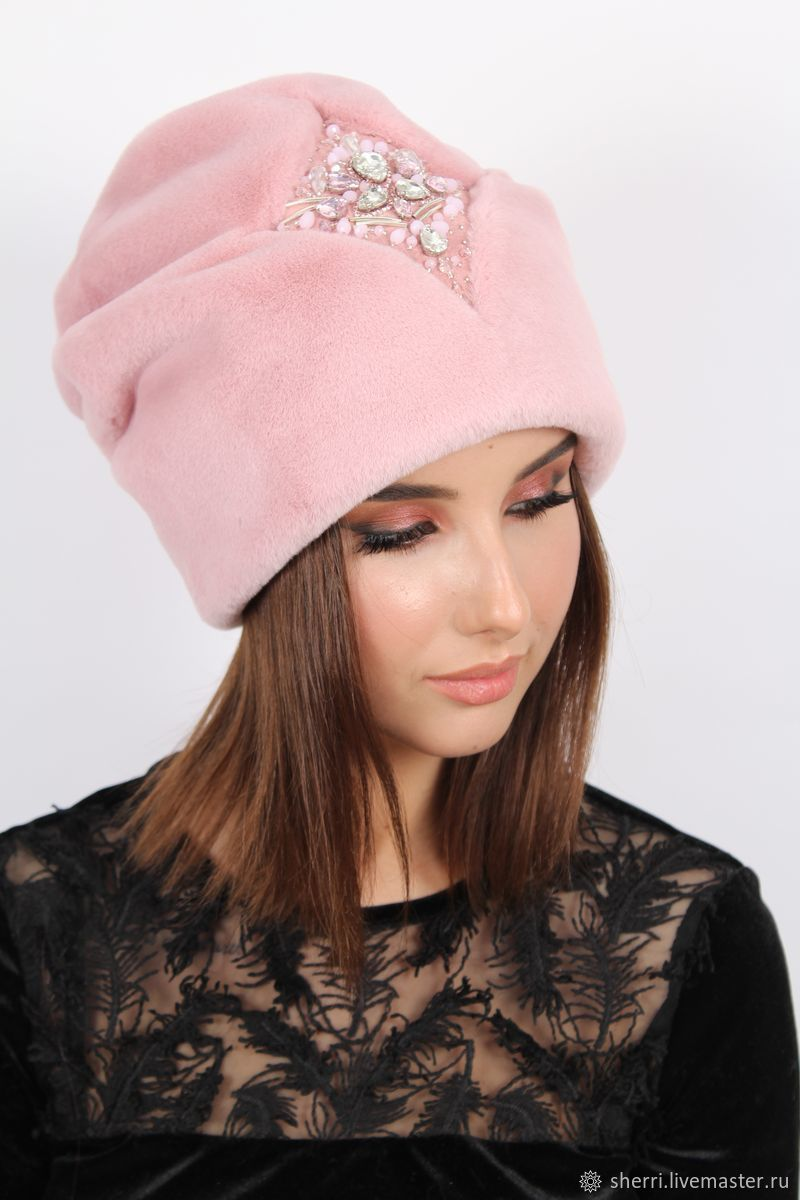 """Шапка """"Натали""""  с вышивкой. Пыльно-розовый цвет, Шапки, Новосибирск,  Фото №1"""