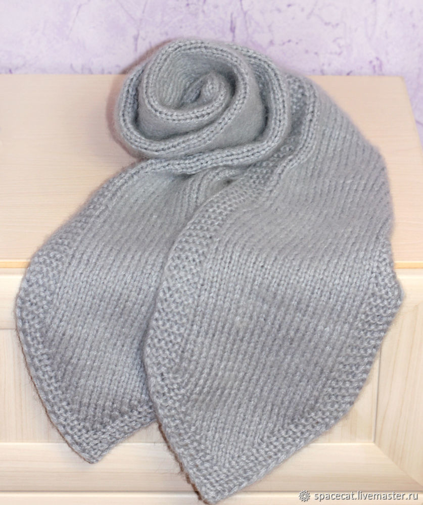 Теплый шарф вязаный женский шарф зимний пушистый серый, Шарфы, Оренбург,  Фото №1