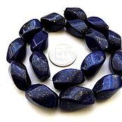 Материалы для творчества ручной работы. Ярмарка Мастеров - ручная работа Лазурит 17 камней набор бусины с огранкой синий с пиритом. Handmade.