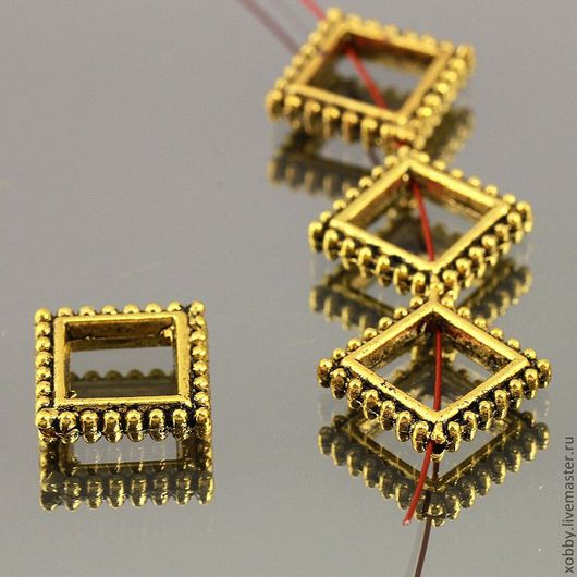Бусины металлические в форме рамка цвета золота с чернением с отверстием по диагонали Материал бусин сплав Цвет покрытия античное золото