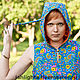 Ethnic Clothing handmade. Livemaster - handmade. Buy Dress elven hooded Indigo.Hood, paisley, 100% cotton