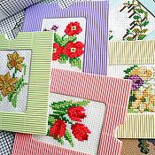 Открытки ручной работы. Ярмарка Мастеров - ручная работа Весенние цветы, мини картины, открытки в подарок на 8 марта. Handmade.