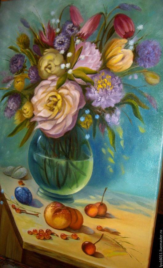 Картины цветов ручной работы. Ярмарка Мастеров - ручная работа. Купить Цветочно-фруктовый натюрморт.. Handmade. Морская волна