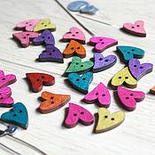 Материалы для творчества handmade. Livemaster - original item Wooden colored buttons