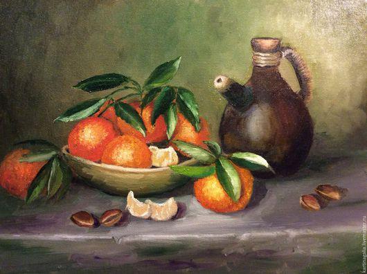 Натюрморт ручной работы. Ярмарка Мастеров - ручная работа. Купить Натюрморт с мандаринами. Handmade. Комбинированный, картина маслом, апельсины