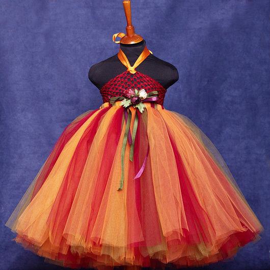 """Одежда для девочек, ручной работы. Ярмарка Мастеров - ручная работа. Купить """"Осенний вальс"""" комплект супер-длинная пачка и топик. Handmade."""
