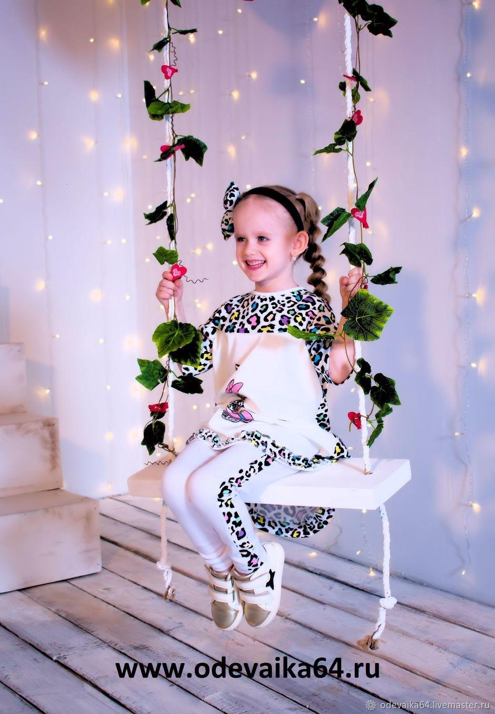 Модный комплект: платье и легинсы с леопардовой отделкой и мультпринт, Костюмы, Саратов,  Фото №1