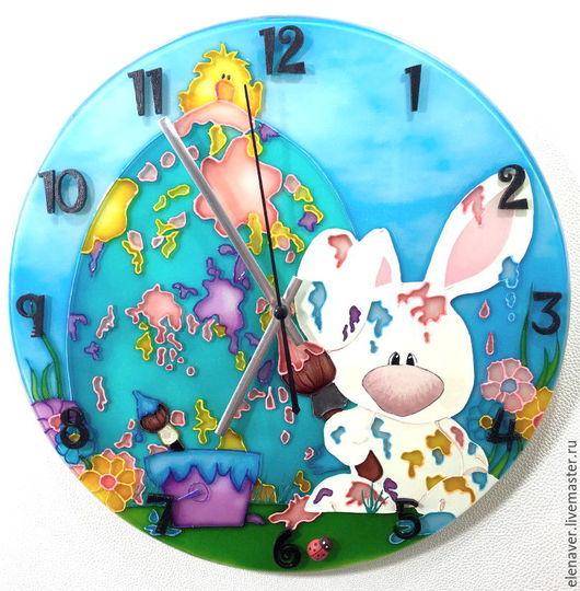 Детские часы, часы с витражной росписью, ручная работа, яркие часы, бирюзовый