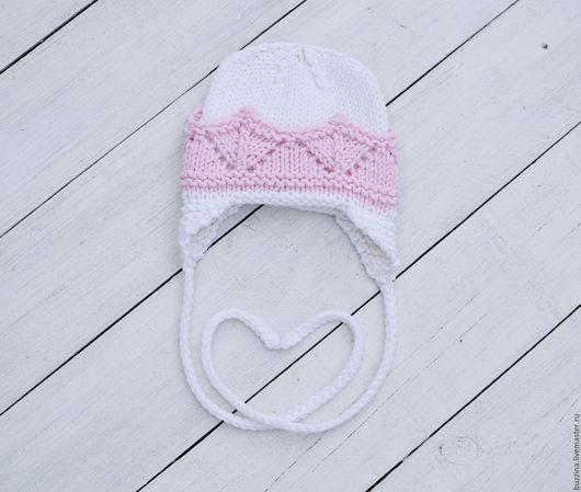 Для новорожденных, ручной работы. Ярмарка Мастеров - ручная работа. Купить Шапочка для девочки с короной, шапочка для новорожденной на выписку. Handmade.