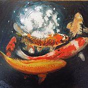 Картины и панно ручной работы. Ярмарка Мастеров - ручная работа Золотые рыбки.. Handmade.