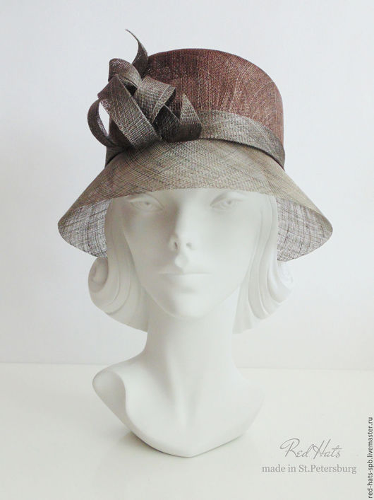 """Шляпы ручной работы. Ярмарка Мастеров - ручная работа. Купить Шляпка  """"Герцогиня"""" летняя, синамей. Handmade. Шляпа, шляпка колокол"""