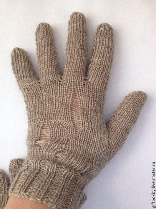 Варежки, митенки, перчатки ручной работы. Ярмарка Мастеров - ручная работа. Купить Теплые перчатки из 100% мериносовой шерсти со спущенными петлями. Handmade.