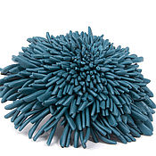 Украшения handmade. Livemaster - original item Brooch Chrysanthemum dark - blue leather. Handmade.