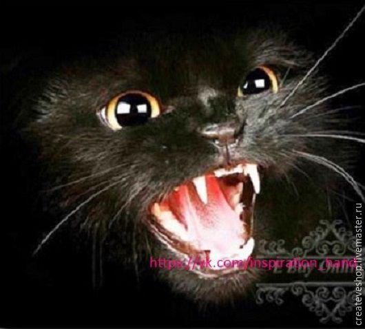 """Персональные подарки ручной работы. Ярмарка Мастеров - ручная работа. Купить Алмазная вышивка """"Чёрный кот"""" 990 руб.. Handmade."""