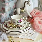 "Утварь ручной работы. Ярмарка Мастеров - ручная работа Чайная пара ""Нежные цветы"". Handmade."