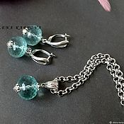 Украшения handmade. Livemaster - original item Set with aqua quartz. earrings pendant. Handmade.
