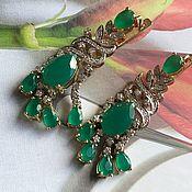 Украшения handmade. Livemaster - original item Aigul. Earrings and ring with chrysoprase and diamonds. Handmade.