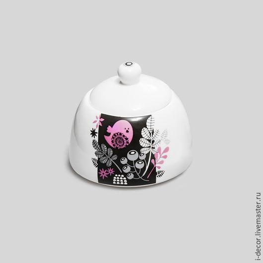 Сахарница из авторской коллекции Розовая i-decor Фарфоровая посуда Подарок для дома