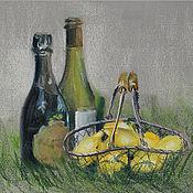 Картины и панно ручной работы. Ярмарка Мастеров - ручная работа Пастель Натюрморт с лимонами и бутылками вина Пастельная картина. Handmade.
