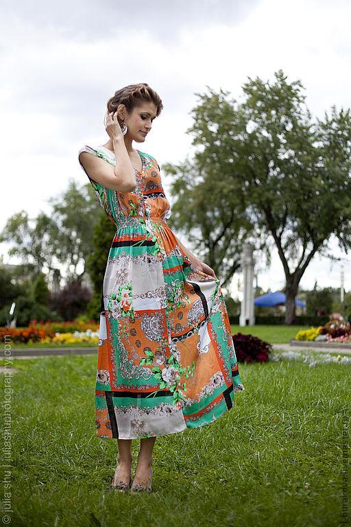 Платья ручной работы. Ярмарка Мастеров - ручная работа. Купить Летнее платье с замком. Handmade. Цветочные мотивы, цветочный орнамент