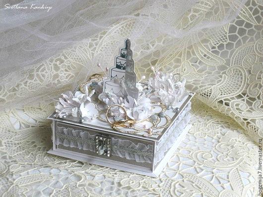 """Свадебные открытки ручной работы. Ярмарка Мастеров - ручная работа. Купить Свадебная коробочка для денег """"Свадебный торт"""" (серебряный). Handmade."""