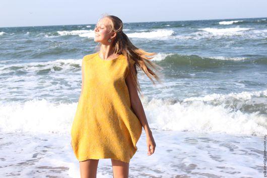 """Платья ручной работы. Ярмарка Мастеров - ручная работа. Купить туника валяная """"Солнечное настроение"""". Handmade. Желтый, войлочная одежда"""