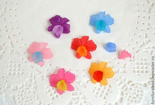 Для украшений ручной работы. Ярмарка Мастеров - ручная работа. Купить Бусины цветы орхидеи и серединки для орхидей.. Handmade. Комбинированный