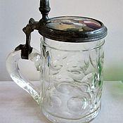 handmade. Livemaster - original item 19 century Beer mug Porcelain insert Hand painted Biedermeier. Handmade.