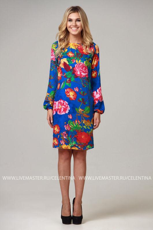 Летнее платье, Прямое летнее платье, платье свободного кроя. Платье на лето, летнее короткое платье, цветочное платье, повседневное платье, красивое платье на лето из шифона. Синее платье