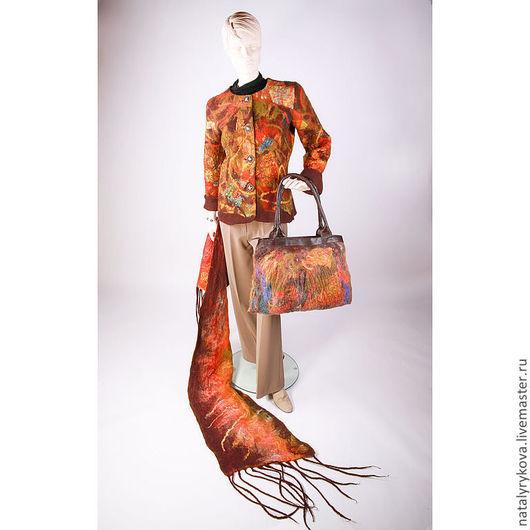 """Пиджаки, жакеты ручной работы. Ярмарка Мастеров - ручная работа. Купить Жакет сумка палантин""""Осенний микс""""комплект. Handmade. Жакет женский"""