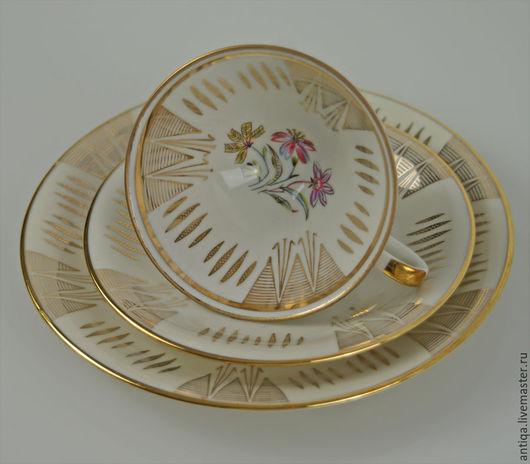 Винтажная посуда. Ярмарка Мастеров - ручная работа. Купить Фарфоровое кофейное (чайное) трио немецкой марки Shirnding Bvaria. Handmade.