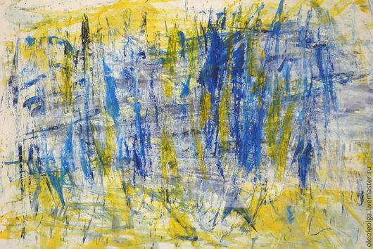 Абстракция ручной работы. Ярмарка Мастеров - ручная работа. Купить Марсель. Handmade. Тёмно-синий, желтый, желтый цвет
