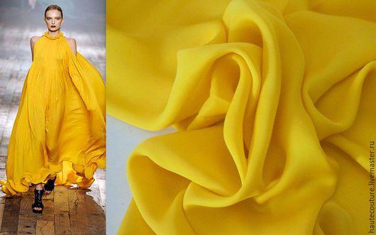 """Шитье ручной работы. Ярмарка Мастеров - ручная работа. Купить Шелк """"Насыщенный желтый"""". Handmade. Желтый, ткани для шитья"""