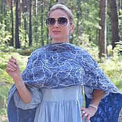 Аксессуары handmade. Livemaster - original item Felted scarf made of wool and silk.Warm felted scarf Blue lines. Handmade.