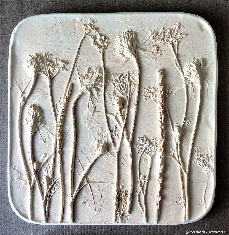 Разнотравье Гипсовое панно Отливки цветов Оттиски цветов Ботанический барельеф Панно для интерьера Картины цветов