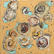 Картины и панно handmade. Livemaster - original item Abstract painting of Fussy fish (sand, turquoise). Handmade.