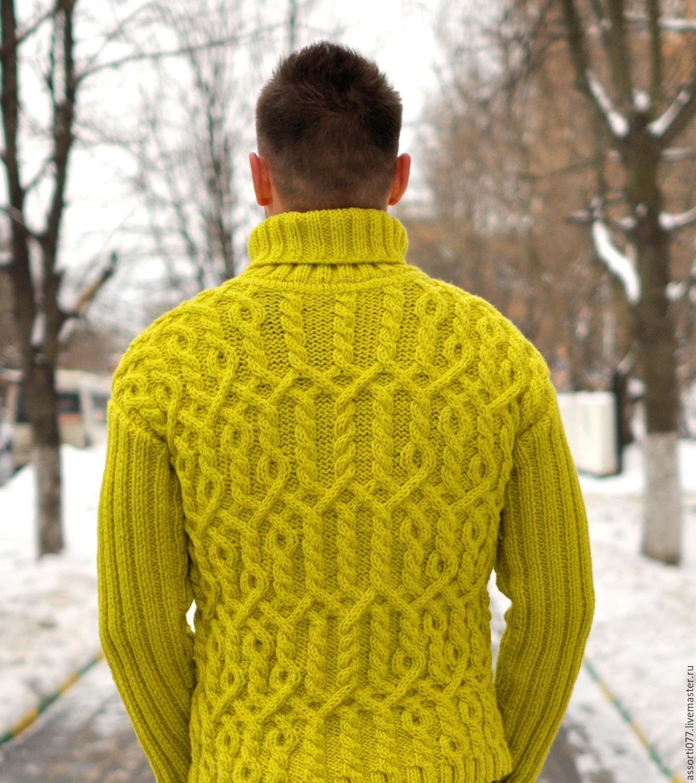 Вязание спицами араны для мужского свитера