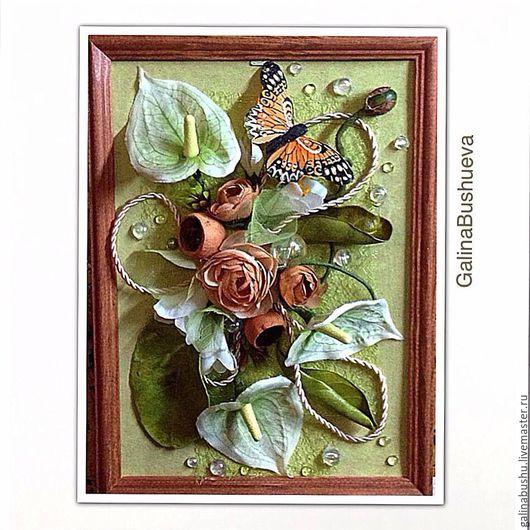 Картины цветов ручной работы. Ярмарка Мастеров - ручная работа. Купить Флористический коллаж  в стиле Арт Нуво. Handmade. Коричневый