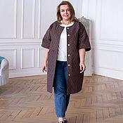 handmade. Livemaster - original item Denim Dress Plus Size Milk Chocolate. Handmade.