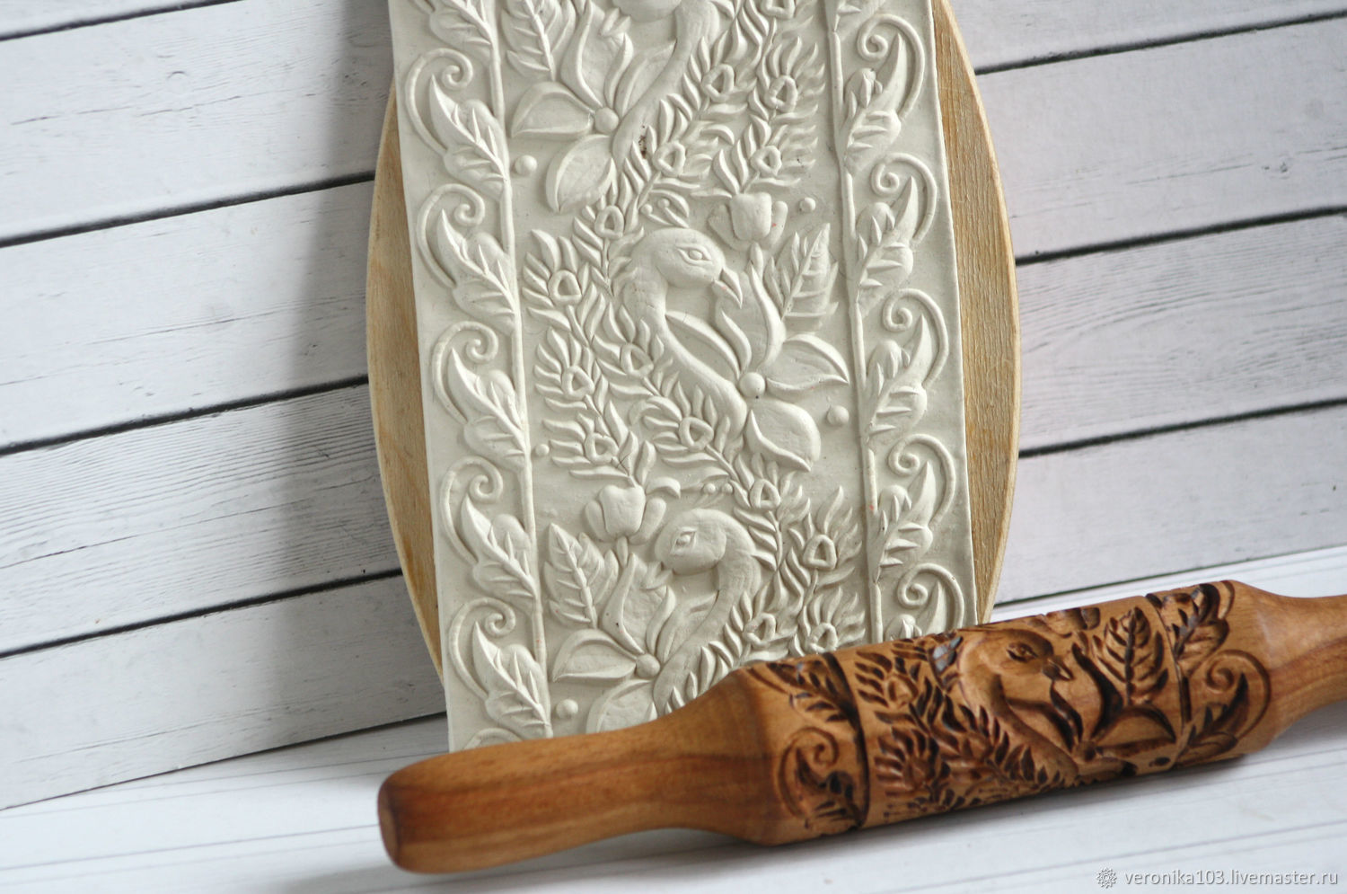 Rolling pin for cookies and gingerbread peacocks, Kitchen handmade, Odintsovo, Фото №1