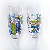 """Свадебный салон ручной работы. Ярмарка Мастеров - ручная работа Бокалы """"Путешествия"""" в синем и зеленом цвете. Handmade."""