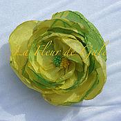 Заколки ручной работы. Ярмарка Мастеров - ручная работа «Дикая Роза» жёлто-салатовая «Wild Rose».. Handmade.