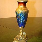 Винтаж ручной работы. Ярмарка Мастеров - ручная работа Антикварная  бронзовая ваза начало 20 в - бронза- эмаль. Швеция. Handmade.